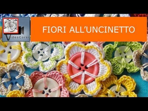 uncinetto - come realizzare dei fiori con i bottoni