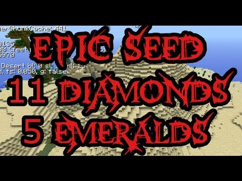 Minecraft Epic Seeds - 11 Diamonds, 5 Emeralds, Massive Desert And Jungle - #7