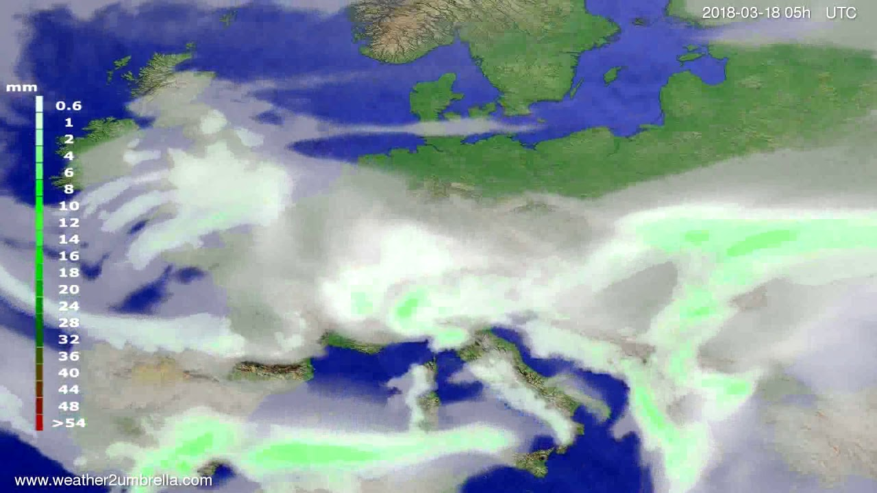 Precipitation forecast Europe 2018-03-15
