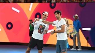 Roger Federer and Novak djokovic having fun in Australian open 2017.