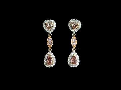 GIA Certified Fancy Deep Orangy Pink Diamonds Earrings