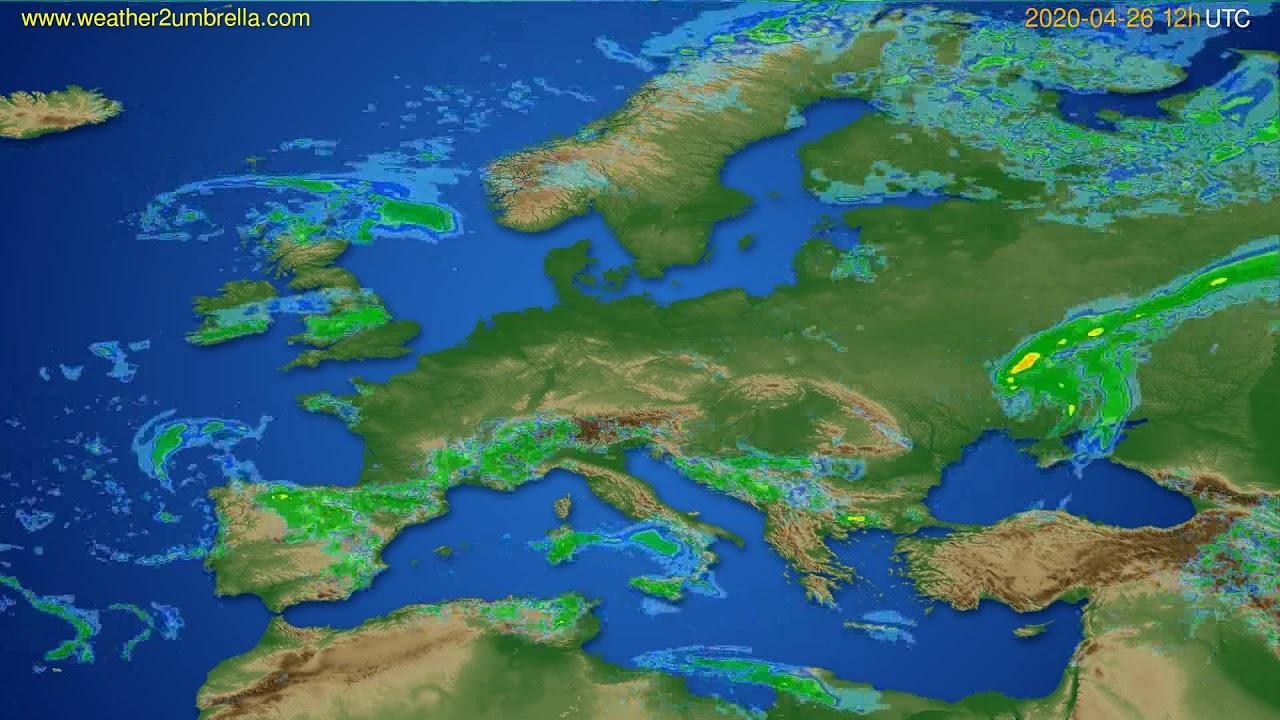 Radar forecast Europe // modelrun: 00h UTC 2020-04-26