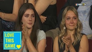 Maddison Krebs tears up after brother Peyton's selection in 2019 NHL Draft by NHL
