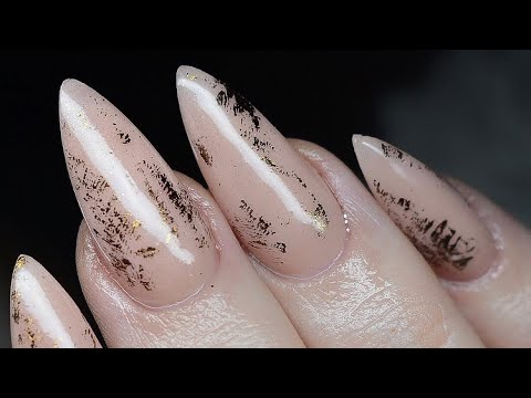 Sculpted Acrylic Nails Nail Foil Nude Nails