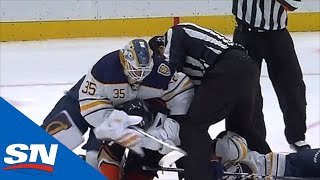 Goalie Linus Ullmark Feeds Nick Ritchie His Blocker During Heated Scrum After Whistle by Sportsnet Canada