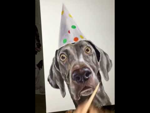 Artist Paints Image Of Dog In Party Hat - 987452