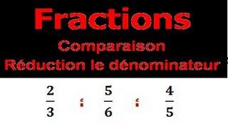 Maths 6ème - Fractions comparaison et réduction le dénominateur Exercice 5