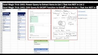 In this video see how to use an Left Anti Join in Power Query to Extract Items in List 1 that are NOT in List 2.Download File:Start File: https://people.highline.edu/mgirvin/YouTubeExcelIsFun/EMT1441-1442Start.xlsxFinished File: https://people.highline.edu/mgirvin/YouTubeExcelIsFun/EMT1441-1442Finished.xlsxEntire page with all Excel Files for All Videos: http://people.highline.edu/mgirvin/excelisfun.htmRelated Videos for Comparing Two Lists and Extracting Records:Other Excel Methods for Comparing Two Lists:Excel Magic Trick 1226: Compare 2 Lists, Extract Items In List 2 That are NOT in List 1 (6 Examples) https://www.youtube.com/watch?v=9h1omv60MCAExcel Magic Trick 1229 Extract Items NOT in List 1: Conditional Format Unique Values & Sort by Color https://www.youtube.com/watch?v=E3_vMI3LjJUExcel Magic Trick 1441: Power Query to Extract Items In List 1 That Are NOT In List 2https://www.youtube.com/watch?v=JztEKJ-XkCUExcel Magic Trick 1442: DAX Query & EXCEPT Function to Extract Items In List 1 That Are NOT In List 2 https://www.youtube.com/watch?v=lLMXFLr9Aeg