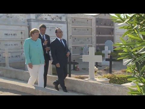 Επίσκεψη της Α.Μέρκελ με τον Μ.Ρέντσι και τον Φρ.Ολάντ στον τάφο του Αλτιέρο Σπινέλι