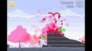 Angry Birds Seasons Hogs and Kisses Heart Level Walkthrough