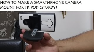 I got this information online and made it betterThe things that you would require are Instant adhesive, Strong adhesive tape, L-Shaped Bracket, compatible nut for the quick-release mount holder of the tripod, the quick-release mount holder of the tripod and Your Smartphone compatible back cover (Preferably something that you can only use for the tripod permanently.  If you have a slide-in back cover or can get one it would be easier to remove)Step 1: Find a compatible nut for the quick-release mount holder.  Take the quick-release mount holder to your hardware store and get the compatible nut.Step 2: Take your Smartphone compatible back cover which is available in your mobile store and the L-Shaped bracket with the holes which is available in the hardware store.  If the holes in the L-Shaped bracket is too small for the mount holder of the tripod, you can take it to a welding shop where they will increase the hole to the size of the screw in the mount holder of the tripod.  Take the quick-release mount holder along with the L-Shaped bracket to the welding shopStep 3: You need to glue the L-shaped bracket to your Smartphone compatible back cover with the Instant adhesive and then use the strong adhesive tape to make it sturdy.  Make sure you align the L-shaped bracket properly to your Smartphone compatible back cover in the center and the Smartphone compatible back cover would be straight when put on the quick-release mount holder of the tripod (THIS STEP IS IMPORTANT)If you have welded a bigger hole to fit, make sure you glue the correct side of the L-Shaped bracket to the Smartphone compatible back coverApply the glue as shown on the outside of the L-Shaped bracket as it is easier to remove the smartphone later if you do not have a slide-in back cover.Apply the strong adhesive tape as shownConnect the L-Shaped Bracket Smartphone Compatible back cover to the quick-release mount holder of the tripod as shownCheck the strength of the self-made Smartphone camera mount for the tripod over a non-impact surface/ heightTry to mount the camera carefully for the first time until you are comfortableYou can also buy the Vastar Universal Smartphone Tripod Adapter, Fits iPhone, Samsung, and all Phones, Rotates Vertical and Horizontal , Adjustable Clamp , Cell Phone Holder (Mount Adapter) in this link - http://www.amazon.in/Universal-Smartphone-Vertical-Horizontal-Adjustable/dp/B01L3B5PBI/ref=pd_sim_147_1?_encoding=UTF8&psc=1&refRID=17BCJG9J6VGD9GDDFZ8WHave a good day!  Glue the cursor to the subscribe button!