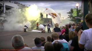Red Bull skydivers and motocross stunt team at PPIHC Fan Fest 2012, Colorado Springs