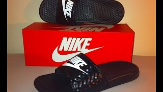 Nike Benassi JDI Slides Review in the Black/White colorwayAlso and on foot lookLeave your comments, questions or suggestions in the comment sectionThanks for watching