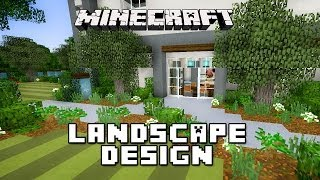 Minecraft Tutorial: Garden Landscape Design   (Modern House Build Ep. 25)