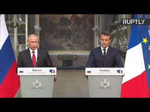 Пресс-конференция Путина и Макрона по итогам переговоров в Версале