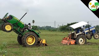 Swaraj 744 vs  John deere / Tractor tochan and tractor pulling / tractor vs tractor -Come to village