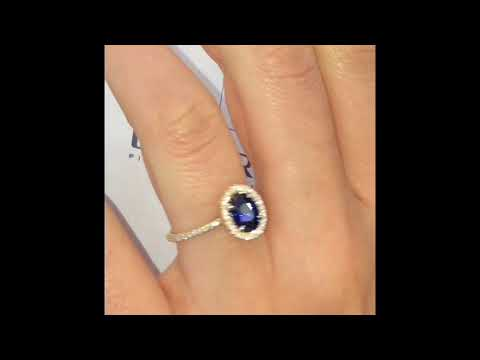 1.45 ct Oval Sapphire Halo Engagement Ring