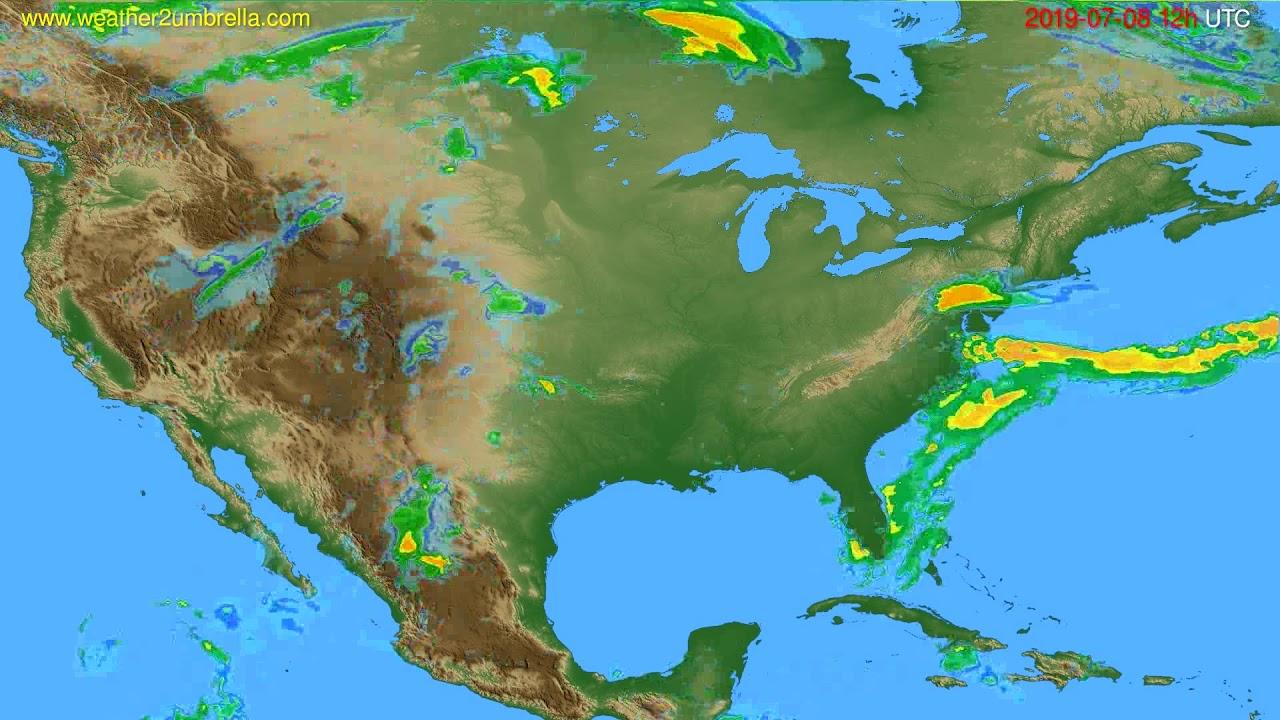Radar forecast USA & Canada // modelrun: 00h UTC 2019-07-08