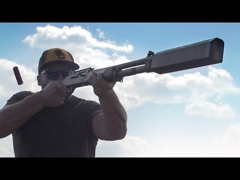 Silencer - first commercially-viable, full modular shotgun suppressor. Click here for tech specs and more info: https://www.youtube.com/watch?v=Gxd5y_0aI4E We took the brand-new Salvo 12 shotgun suppressor...