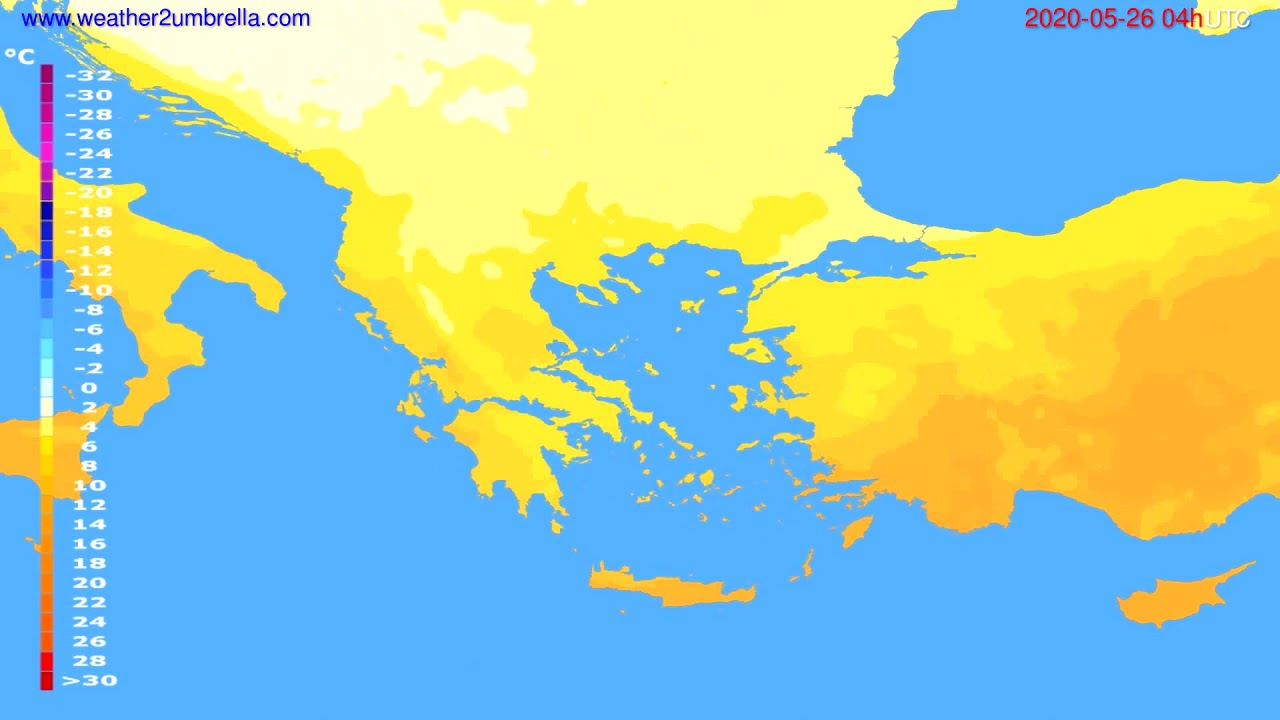 Temperature forecast Greece // modelrun: 12h UTC 2020-05-25