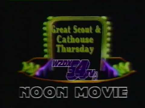 WZDX 54 Noon Movie (1989)  Intro - Great Scout & Cathouse Thursday - Huntsville, Alabama