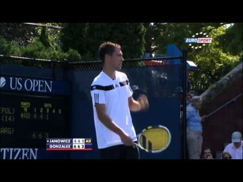 underhand - Janowicz tried an underhand serve in his US Open R1 match vs Maximo Gonzalez, but the serve was disallowed and he proceeded to argue with the umpire.
