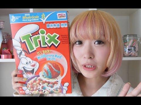 アメリカのカラフルシリアル!Trixを食べてみた!Trying American Cereal Trix видео