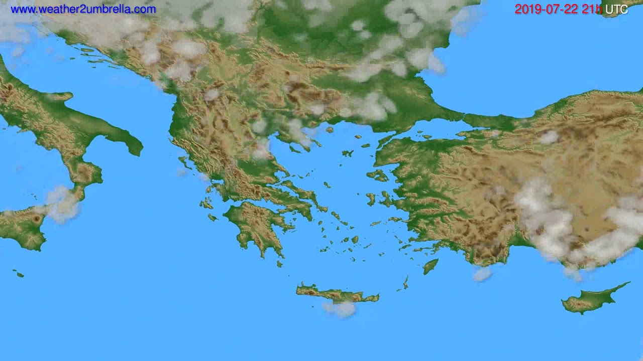 Cloud forecast Greece // modelrun: 00h UTC 2019-07-21