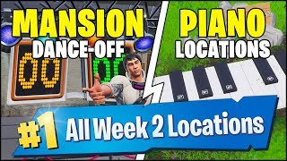 *ALL* Fortnite WEEK 2 CHALLENGE LOCATIONS | PIANO LOCATIONS, ABANDONED MANSION (Season 7 Week 2)