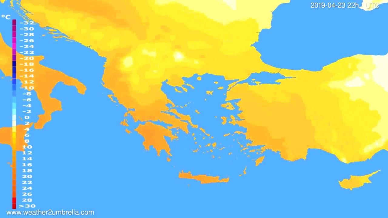 Temperature forecast Greece // modelrun: 12h UTC 2019-04-20
