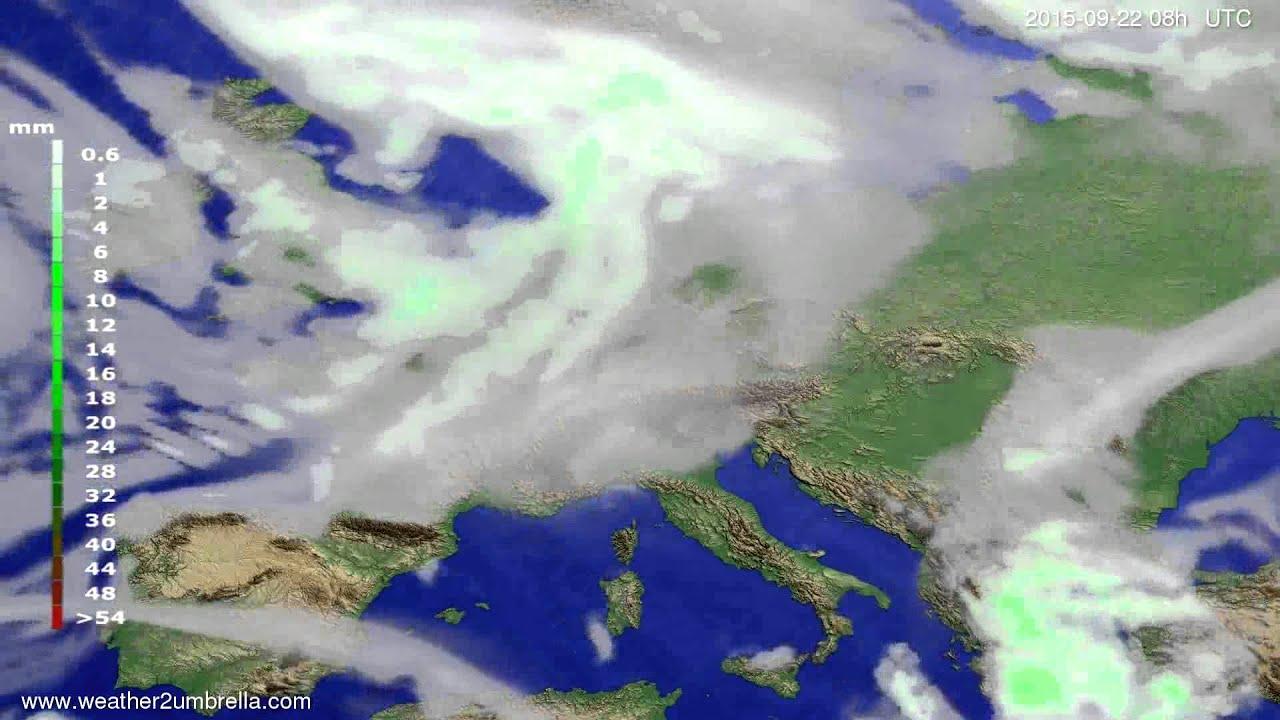 Precipitation forecast Europe 2015-09-19