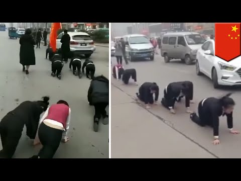 Chinese staff misses sales goals, forced to crawl on street - TomoNews