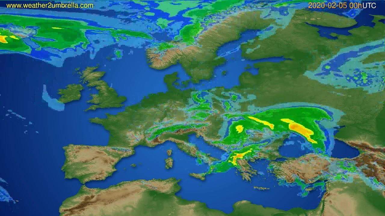 Radar forecast Europe // modelrun: 12h UTC 2020-02-04