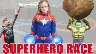 Captain Marvel VS Hulk VS Thor Race! Who Is the Greatest Superhero In Real Life?