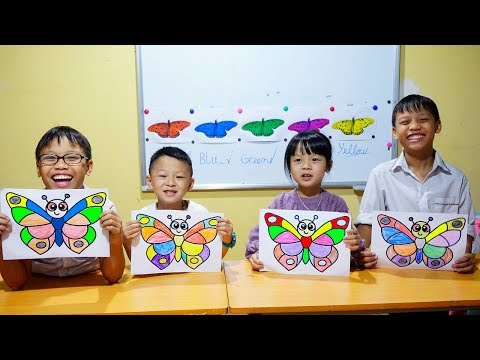 Hunter Kids Go To School Learn Colors Glitter Butterfly | Classroom Funny Nursery Rhymes