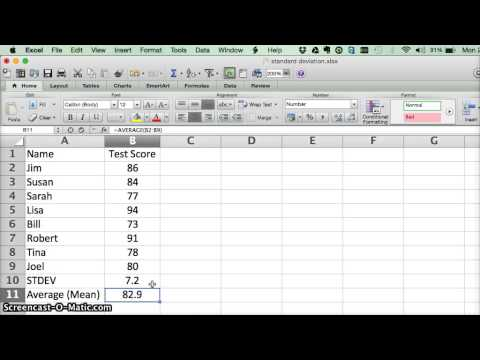 0 Calculating Standard Deviation in Microsoft Excel   Video