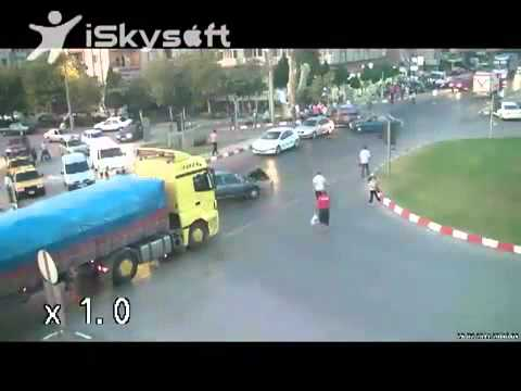 Truck And Car Crash Then Hit Motorcycle (Lucky motorcycle rider)