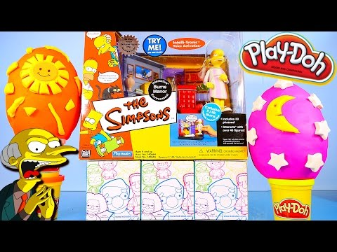 The Simpsons Mr Burns Playset Toys Surprise Play Doh Eggs Kidrobot Unboxing – Disney Cars Toy Club