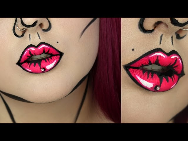 pop art lips makeup tutorial jordan hanz. Black Bedroom Furniture Sets. Home Design Ideas
