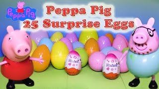 Opening 25 Peppa Pig Surprise Eggs with Toys  with the Assistant