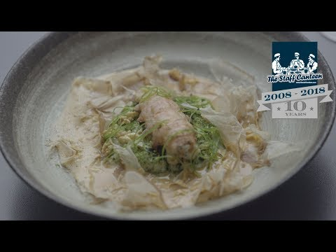 A Scottish Langoustine, Koshihikari rice, katsuboshi recipe, cooked by Stuart Ralston