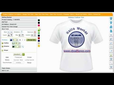 Custom T-Shirts Creator and Shirt Maker Application Tool by CBSAlliance.com