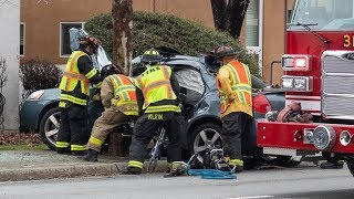 Major Vehicle Accident with Entrapment and Rescue! (Jaws of Life used)