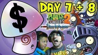 Video Plants vs. Zombies 2 DARK AGES Day 7 + 8: Dad gets Mushy + Hypno $hroom! PVZ iOS Face Cam w/ Son! MP3, 3GP, MP4, WEBM, AVI, FLV Juni 2019