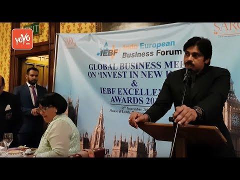 Janasena  Pawan Kalyan Receiving IEBF Award and PK Power Full Speech in London     YOYO TV Channel
