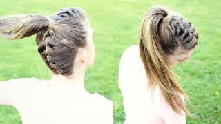 Upside down French Braid Ponytail / French Braid upside down - YouTube