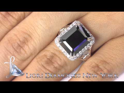 BDR-SOLD-045 - 7.63 Carat Certified Emerald Cut Black Diamond Ring 18k Pave Halo Vintage Style