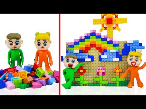 SUPERHERO BABY BUILDS LEGO HOUSE 💖 Stop Motion Cartoons Animation