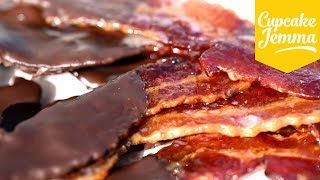 I love bacon....How can bacon be improved? Why, by adding sugar, baking it crunchy and dipping it in chocolate, of course! Only 3 ingredients to create a wor...