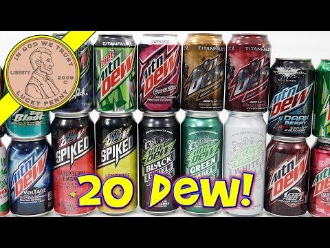 Mtn Dew Taste Test - 20 FLAVORS! Do the Mountain Dew Rainbow! Hmm DEW-BOW (видео)